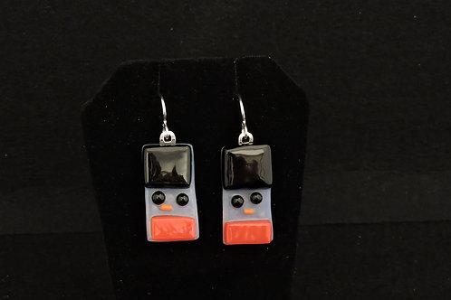 H61 Black & Red Snowdude Earrings