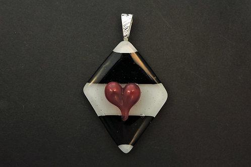 P033 Heart & Diamond Pendant