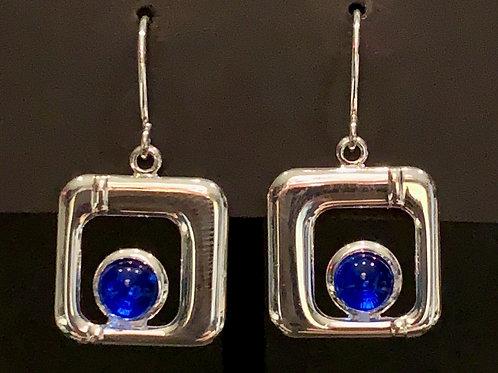 E009 Deep Blue Square Earrings