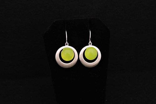 E086 Chartreuse Round Earrings