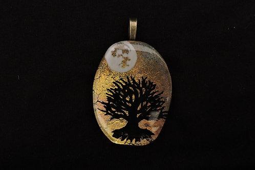 P359 Oval Midnight Tree Pendant