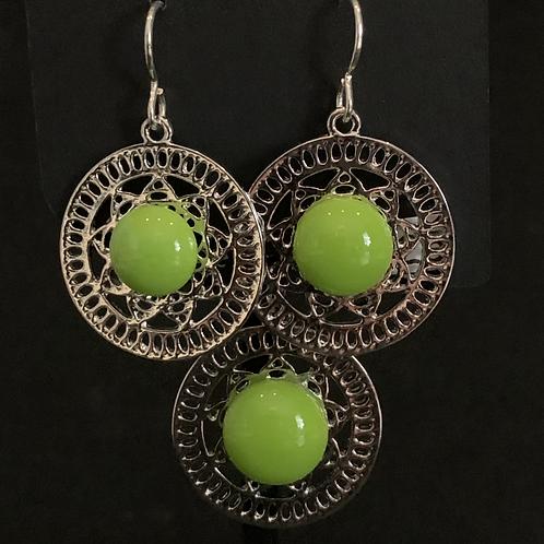 S019 Spring Green Round Earrings & Pendant