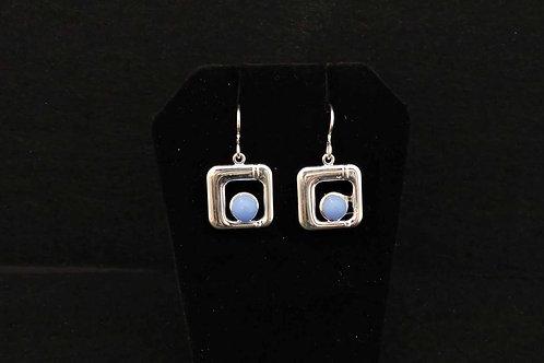 E010 Baby Blue Square Earrings