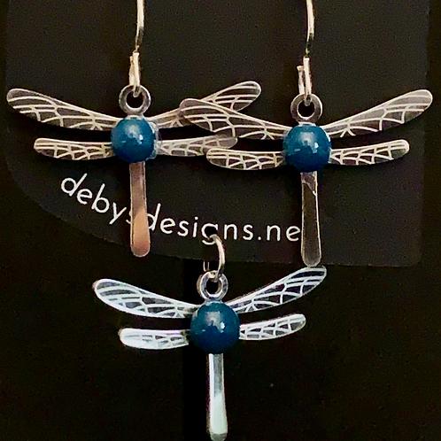 S008 Blue Dragonfly Earrings & Pendant
