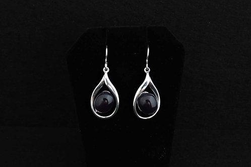 E065 Purple Tear Drop Earrings