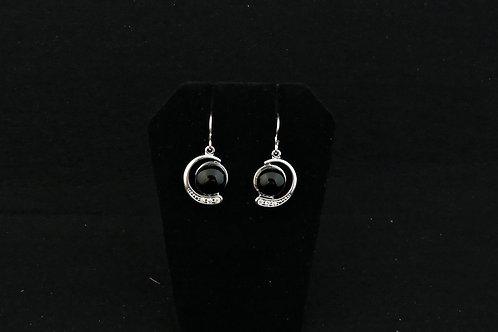 E125 Black Crescent Earrings