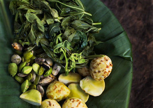 A traditional salad (ulam) from the forest. Blanched sweet potato leaves (top), petai (left) and jering (right) beans from forest trees.