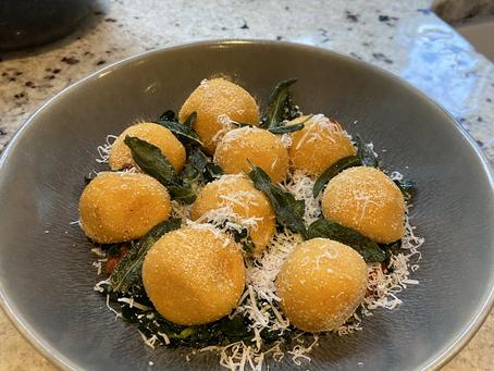 Sweet Potato Gnudi, Chorizo and Kale