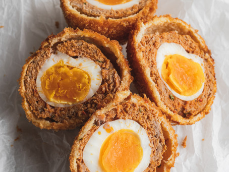 Savoury Easter Eggs! Harissa Lamb Scotch Eggs