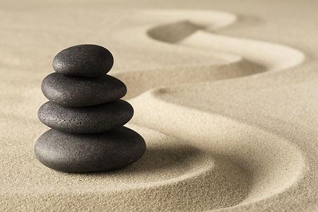 Zen meditation stone and sand garden. Sy