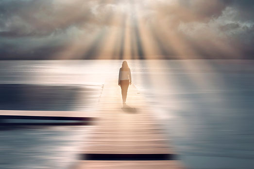 Spiritual sunny light with beams and bac
