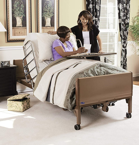 Invacare 5410Low/ 6632/5185 Full-Electric Low Homecare Bed with Rails & Mattress