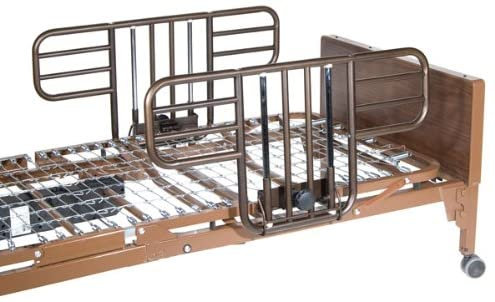Drive Medical Manual Hospital Bed, Brown, Full Rails and Innerspring Mattress