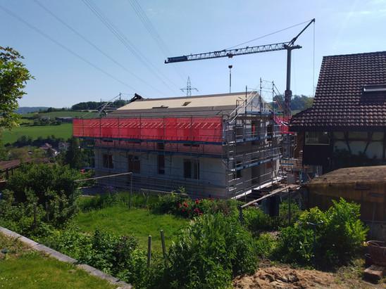Das Dach in Arbeit