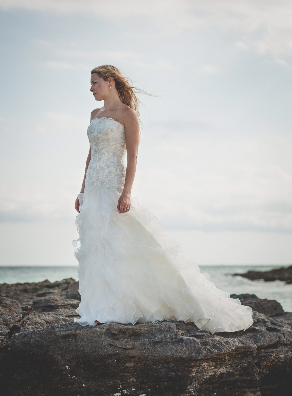 Bride portrait on beach Iheart Studio