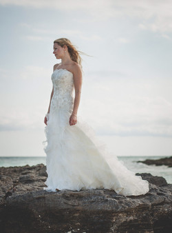 Bride portrait on beach Iheart Studio