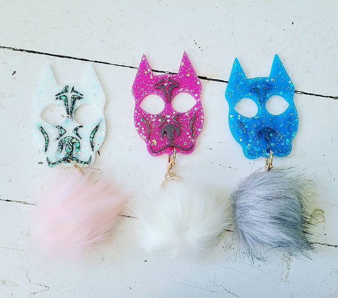 Cute Kitty and Bully Dog Keychains