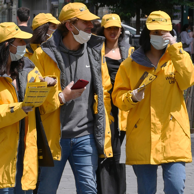 A promotion team of Western Union on it's way to conquer the market.