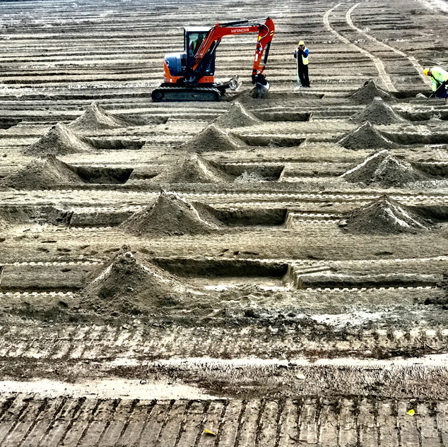 Oudenaarde.  Preparation for a rugby playground.