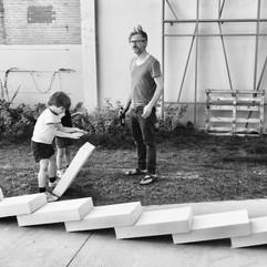 Gent - Ledeberg.  Urban domino event.   Summer 2019