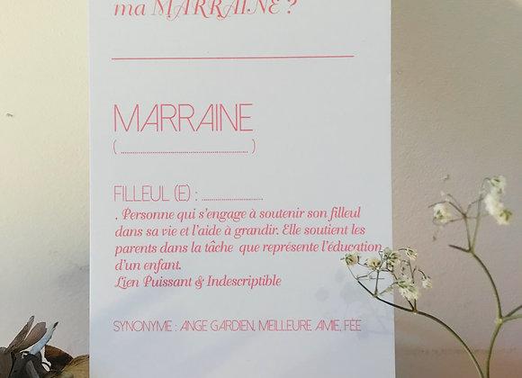 """Carte J'AI QUELQUE CHOSE A TE DIRE : """"VEUX-TU ÊTRE MA MARRAINE ?"""