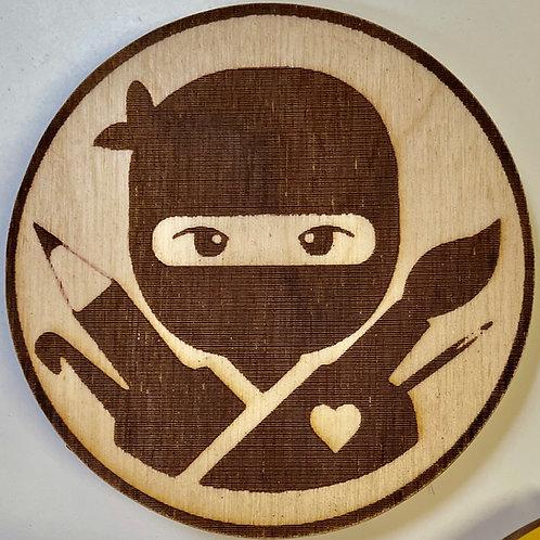 Art Ninja or Ninja Knitter Wooden Coaster
