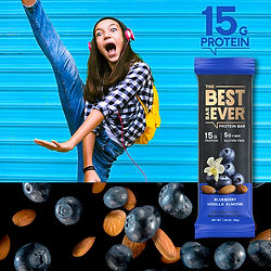 Happy young girl dancing with Best Bar Ever Google Display Network Advertisement