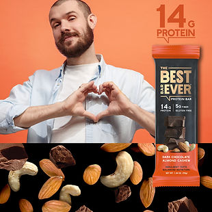 Digital Advertisement of Man making heart with his hands and Best Bar Ever