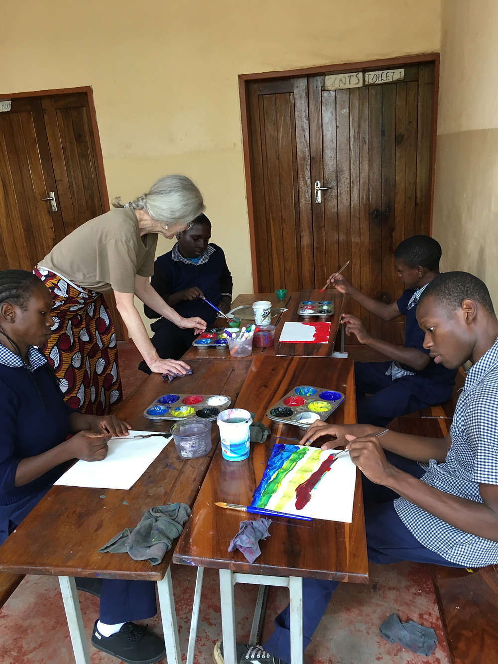 Marsha painting with the children of the Mama Bakhita Home for Disabled Children