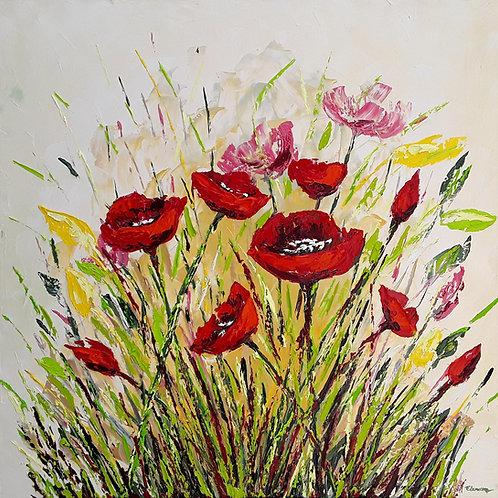 Alegría en rojos (100 x 100 cms)