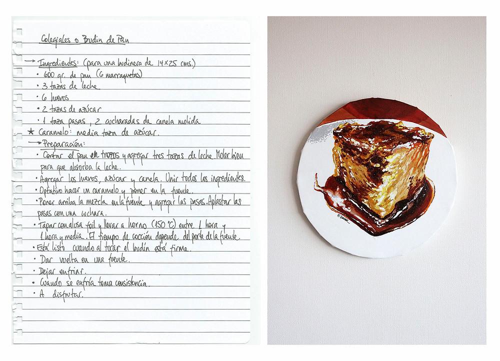"""Obra """"Budin de pan"""" de Eileen Lunecke. 30 cms de diámetro."""