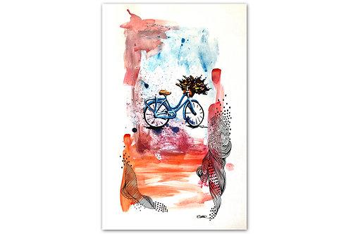 Bicicleta con flores - I (28 x 43 cms)