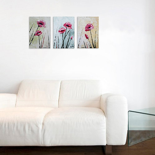 Pink Flowers (Tríptico de 30 x 60 cms)