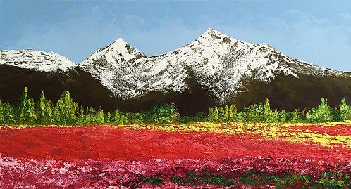 Montañas en primavera (60 x 110 cms)