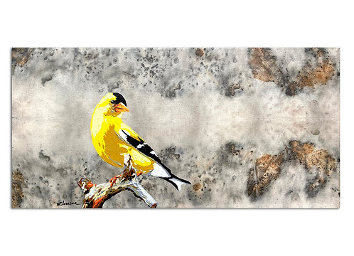 Good morning Goldfinch (30 x 60 cms)