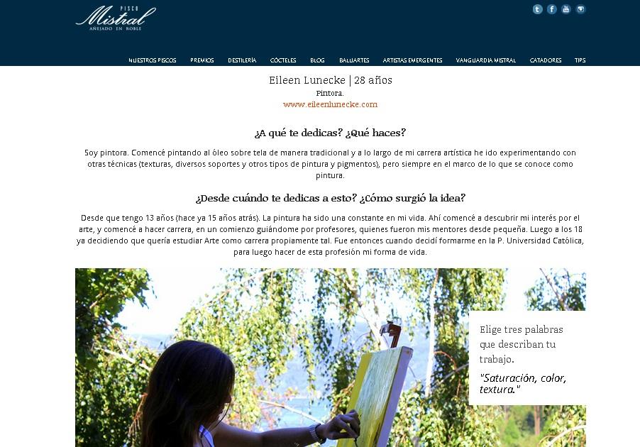 Artistas emergentes - Pisco Mistral