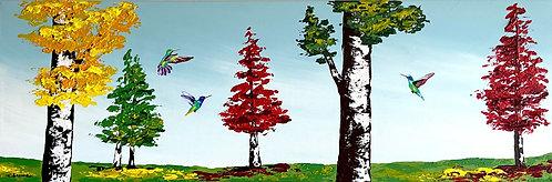 Alegria y danzas en el bosque (40 x 120 cms)