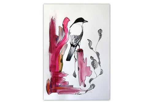Pájaro de perfil - I (28 x 43 cms)