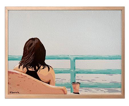 Café mirando el horizonte (30 x 40 cms)