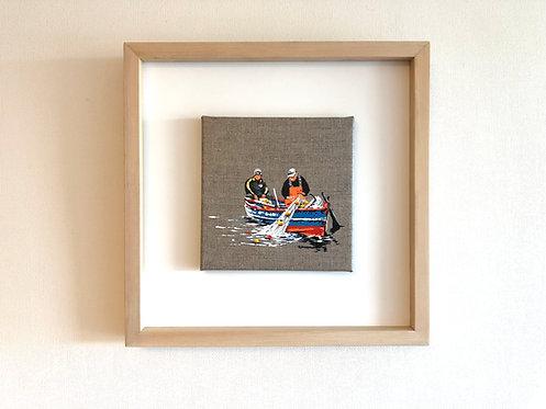 Pescando en la mañana (34 x 34 cms)