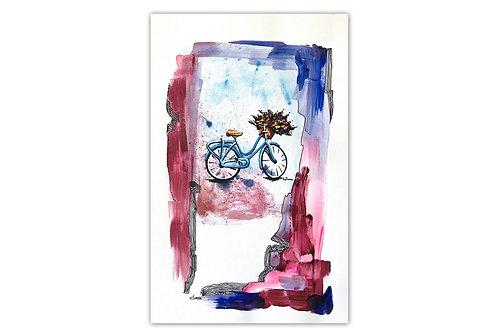 Bicicleta con flores - II (28 x 43 cms)