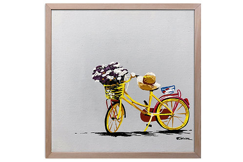 """Obra """"Bici bajo el sol"""" (30 x 30 cms - enmarcada)"""