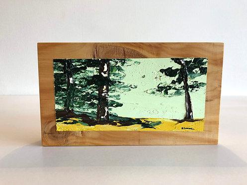 Oleo sobre Oregón XIV (25 x 14 x 4 cms)