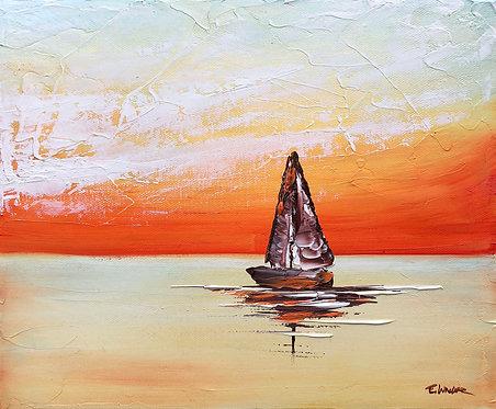 Navegando hacia el atardecer (25 x 30 cms)