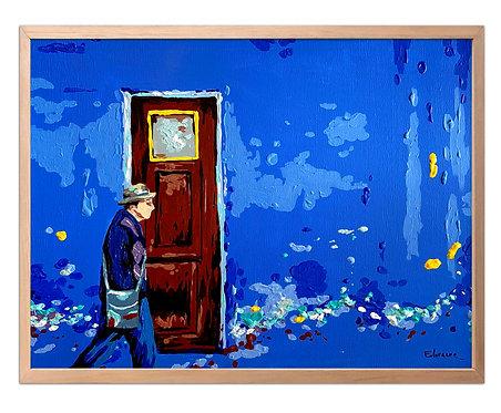 El viejo y la puerta (30 x 40 cms)