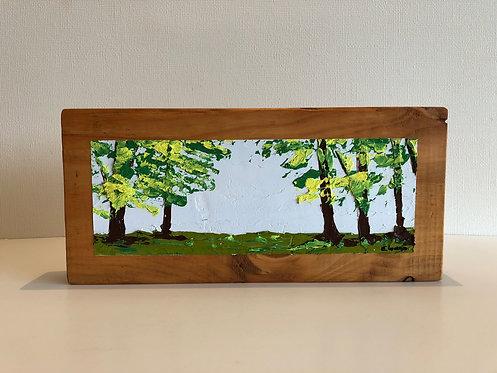Oleo sobre Oregón XV (30 x 14 x 4 cms)