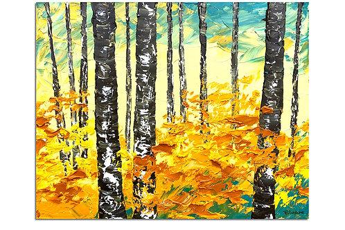 Entre árboles y hojas (40 x 50 cms)