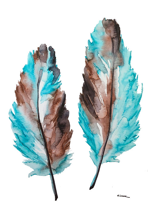Recolectando plumas V (40 x 30 cms)