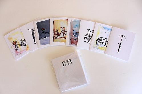 Set de 8 tarjetas de bicicletas con sobre