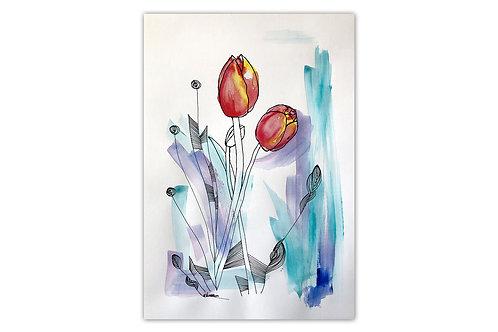 Tulipanes - I (28 x 43 cms)